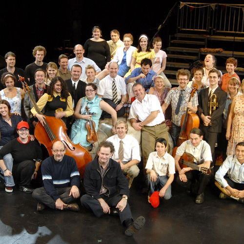 Director/Designer Sean Mee (centre front) with cast, band, chorus and crew.