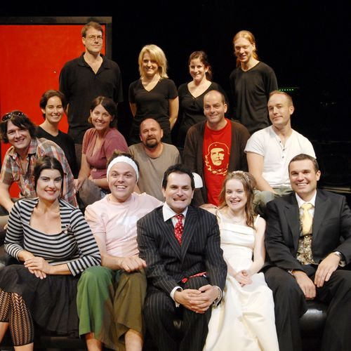 Playwright Stephen Carleton in red t-shirt, director Ian Lawson in white shirt with cast, creatives and crew.