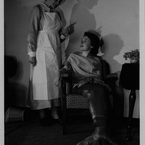 Merle Dinning & Olga Massey in Miranda directed by Daphne Roemermann, Albert Hall 1950. Merle continued her involvement in La Boite well into the 1990s.