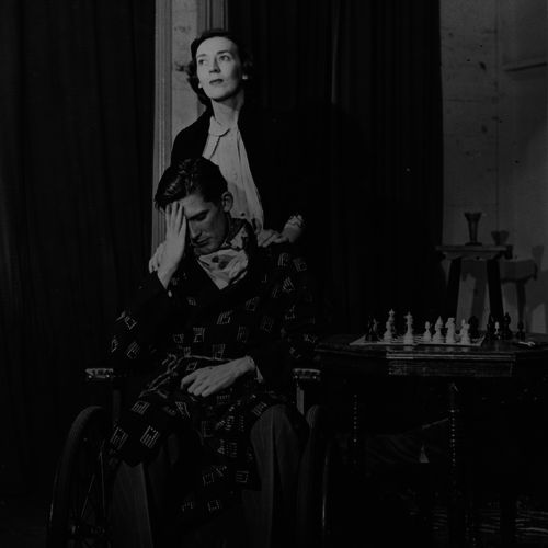 Dorothy Wheeler and Ray Barrett as mother and son in The Sacred Flame by W.Somerset Maughan directed by Igor Wollner in Albert Hall, 1951.