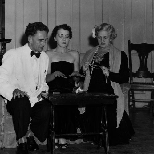 Bob Sloane, Gwen Wheeler, Jean Jarrott in Bell Book and Candle directed by Terry Paltridge, Albert Hall 1955.