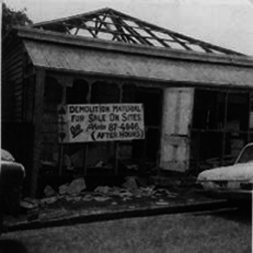 Demolition sign for the first La Boite, the cottage at 57 Hale Street, Milton, 1971.