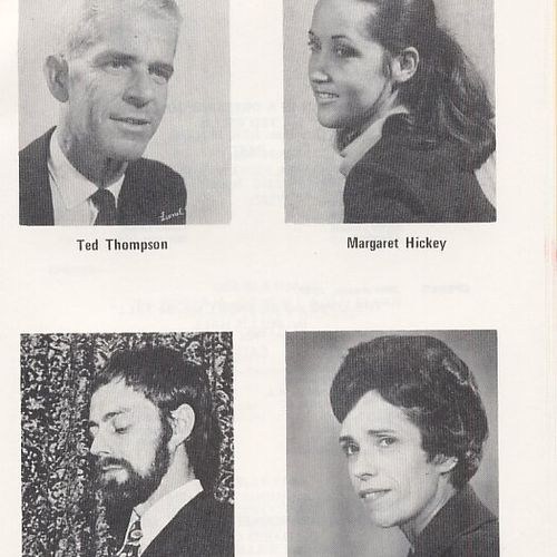 Prominent 1960s La Boite actors. Top: Ted Thompson, Margaret Hickey Bottom: Barry Otto, Hazel Howson.
