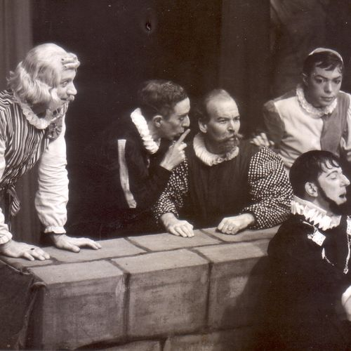 L to R: Jack Brown, Geoffrey Brown, Frank Miller, Graham Knight with Eric Hauff as Malvolio in front