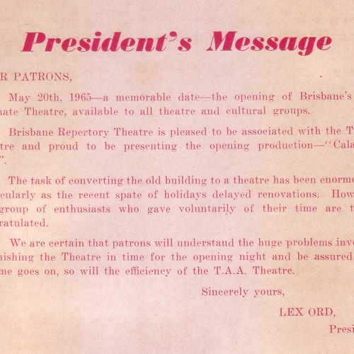 Lex Ord was Brisbane Repertory's Council President between 1964 and 1966.