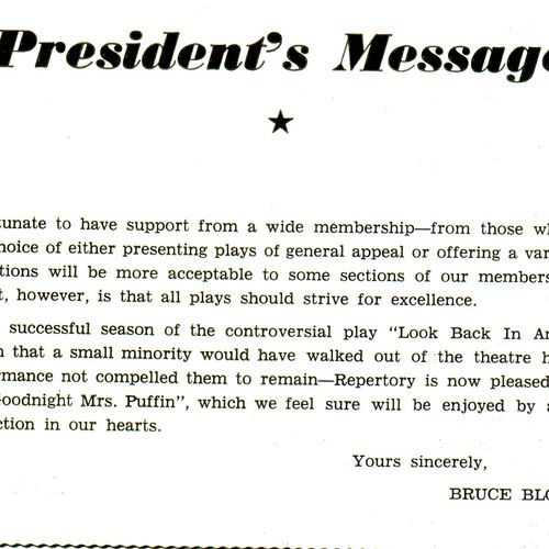 President Bruce Blocksidge's program message.