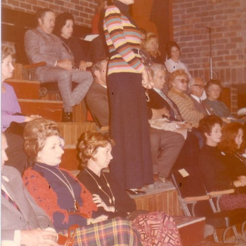 Jennifer Blocksidge in action amongst the audience in the new La Boite Theatre, 1972.