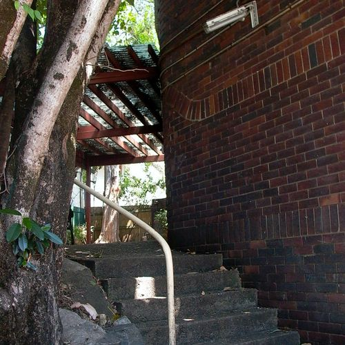 The stairs down to the outdoor work area, circa 2003..