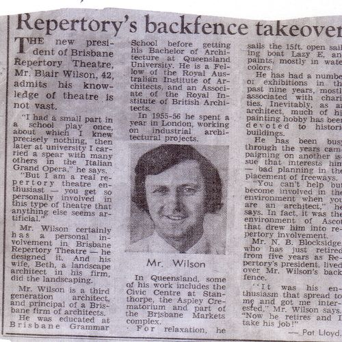Courier Mail article on new La Boiite President, Blair Wilson, 1973.