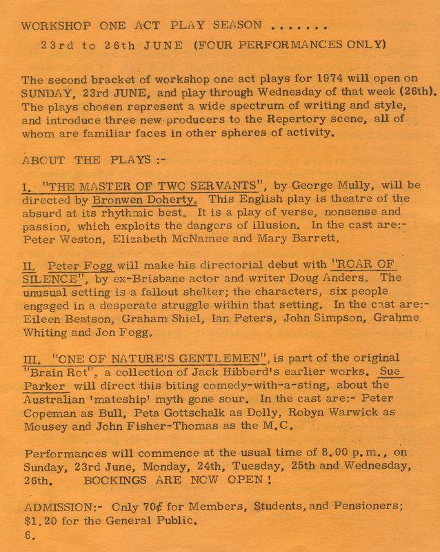 La Boite - Workshop One Act Plays