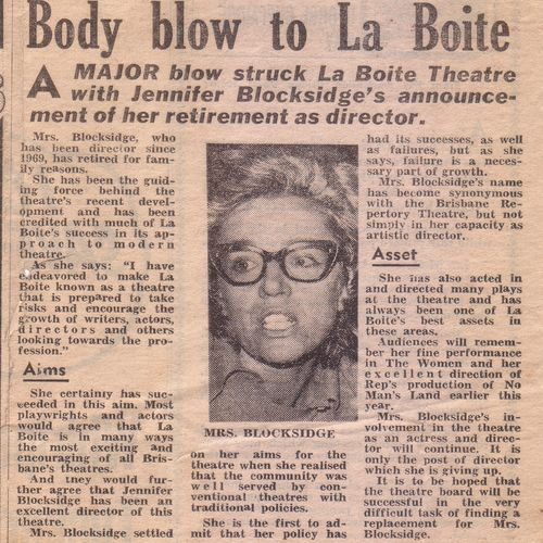 The announcement of Jennifer Blocksidge's retirement as Honorary Artistic Director, 1975