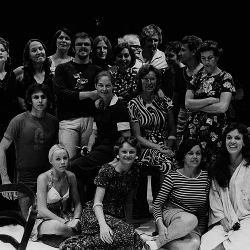 Jennifer Blocksidge (centre with glasses) with directors and actors in an early week season of one-act plays, 1975.