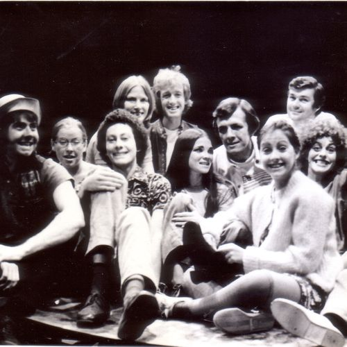 The director Ron Finney (tallest figure in back row), cast and crew of The Sport of My Mad Mother by Ann Jellicoe, 1975.