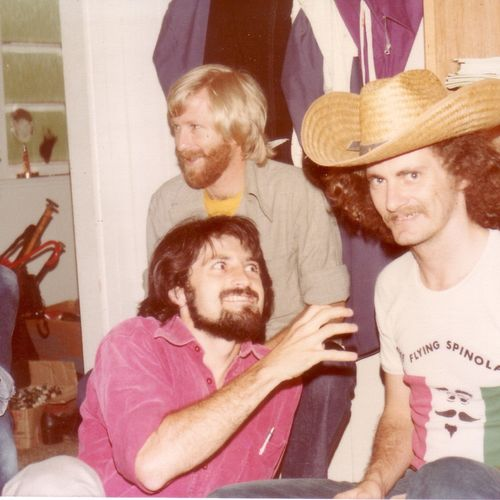 ECDP team members: Team Leader  Phil Armit with blond hair, Joe Woodward with beard and Sean Mee with hat, 1978.