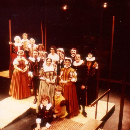 Cast of She Stoops to Conquer by Oliver Goldsmith directed and designed by Graeme Johnston, 1978.