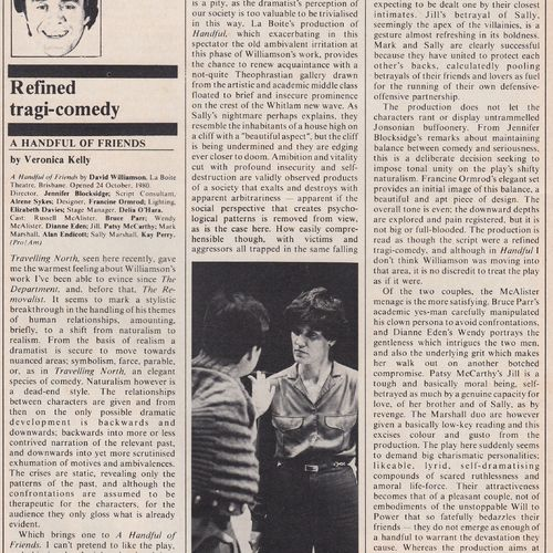 Review by Veronica Kelly in Theatre Australia Dec.Jan.1981
