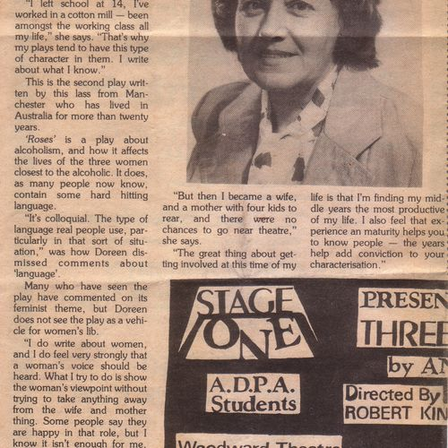 Playwright Doreen Clarke in Time Off, March 14-27, 1980.