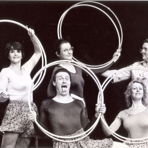 ECDP's in-theatre production of Once Upon A Long Time Ago directed by Mark Radvan with Margery Forde, Linda Sproul, Margaret Goss and front row Chris Burns & Lil Kelman, 1982.
