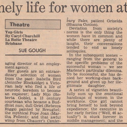 Review by Sue Gough in The Australian, date unknown.