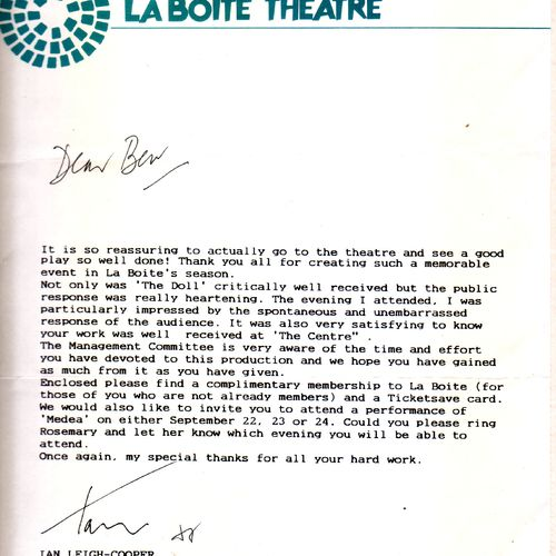 Letter to Bev Langford from La Boite Board Chair Ian Leigh-Cooper