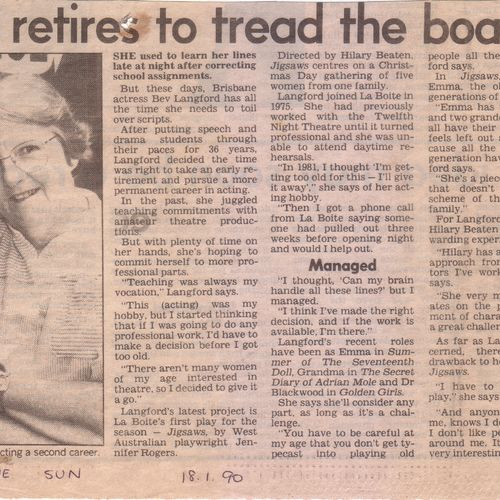 Bev Langford turns professional.The Sun, January 1, 1990.