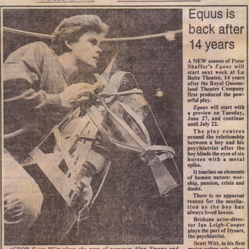 Scott Witt as Alan Strang and Nathan Kotzur as the horse Nugget in Equus, The Courier Mail, June 24 1989
