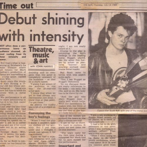 Equus review in The Sun July 13 1989.