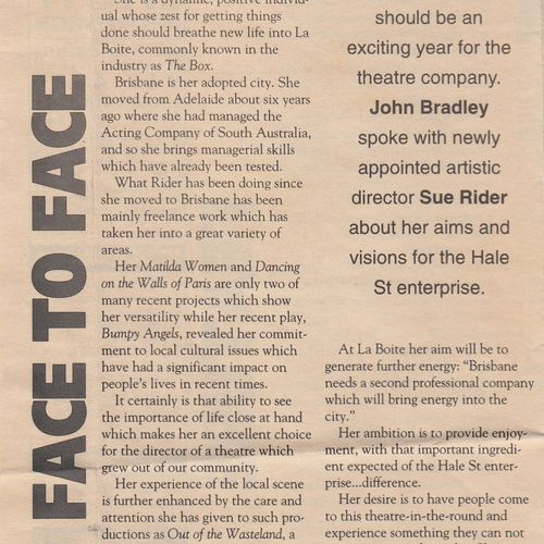 """Rider ventures where no one has gone before"" in The Brisbane Review, 3 December 1992 (Part 1). Courtesy Rikki Burke"