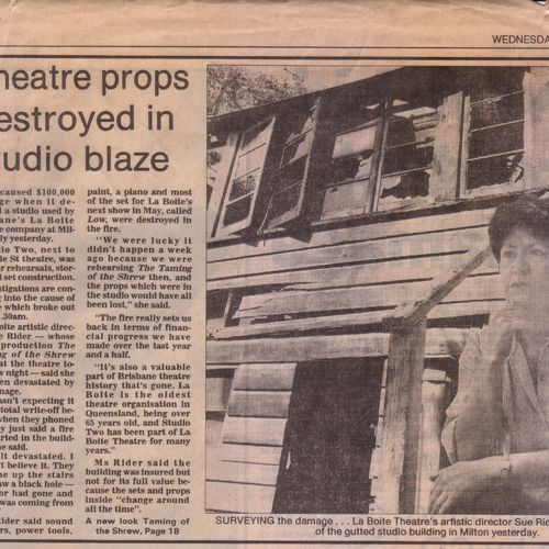 Fire in the studio, March 1994