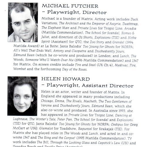 Playwrights Michael Futcher & Helen Howard