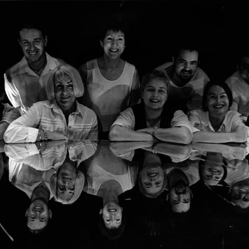 La Boite staff, 1999. L to R (back row) Mark Lloyd Hunt, Campbell Misfeld, Sue Rider, Fraser Corfield, Craig Whitehead (back row) Leila Maraun, Rosemary Walker, Nicole Lauder, Cheryl Freeman, Eleanor Howlett.