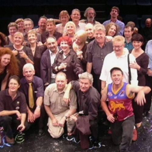 The Final Bow cast, crew and audience members, 2003. A celebration of the company's 30 years of productions at La Boite Theatre in Hale Street, Milton.