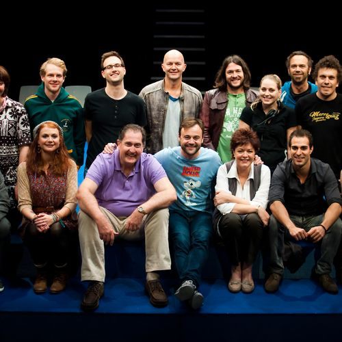 Director David Berthold with cast, crew & creatives of Ruben Guthrie, 2011.