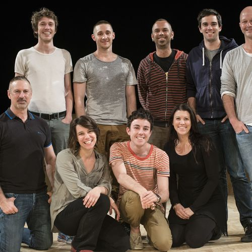 Tender Napalm co-directors David Berthold (far right) & Garry Stewart (far left kneeling) and  with cast, crew & creatives, 2012.
