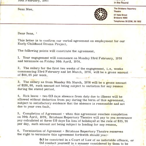 Sean Mee's confirmation letter of his employment in the inaugural ECDP team, 1976.