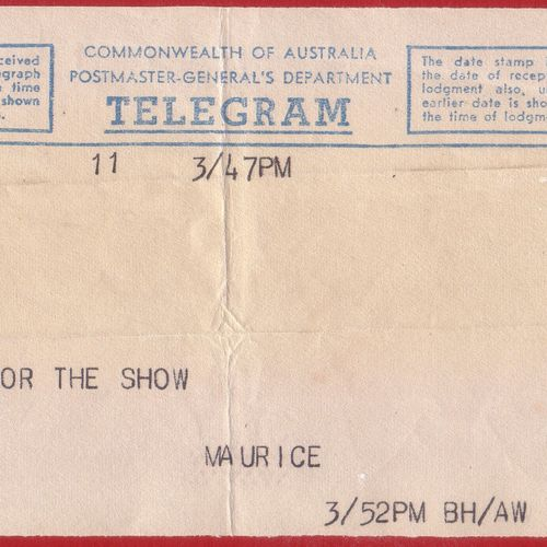 Telegram from Maurice Chevalier to Beverley Bayes, star of Gigi.