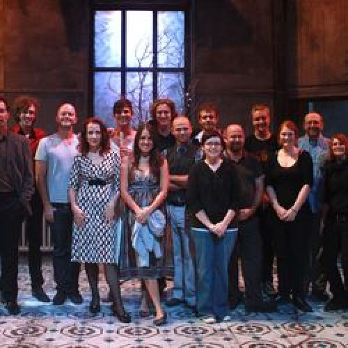 Director David Berthold with cast, crew, creatives of Hamlet, 2010.