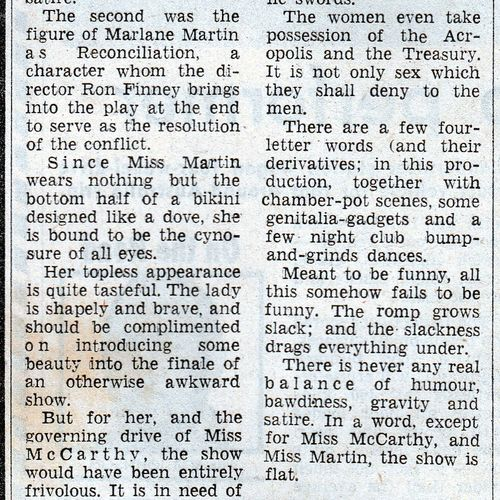 Review by David Rowbotham in The Courier Mail, 9 October 1976.