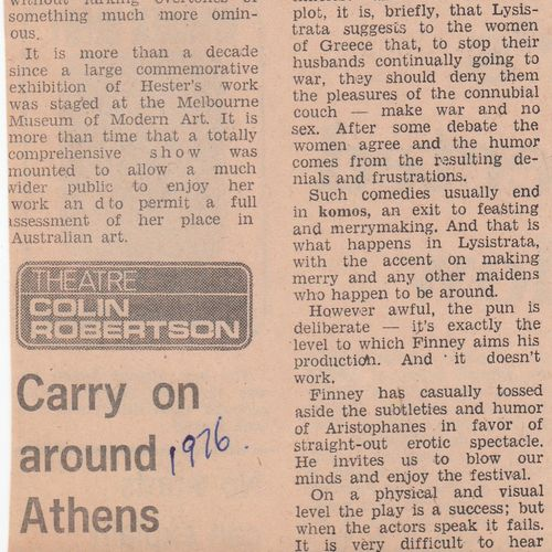Review by Colin Robertson, The Australian, date unknown.