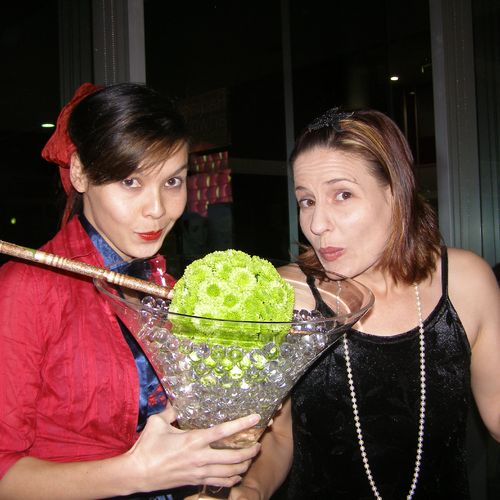 """The Wishing Well""  opening night 2008. Shari (venue manager) and Von (development manager)and giant martini!"