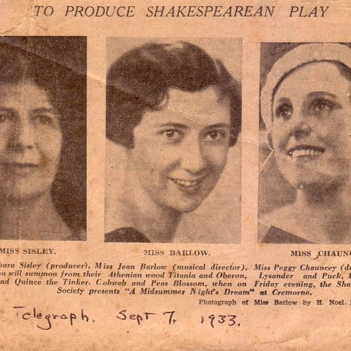 Publicity for Sisley's 1933 production of A Midsummer Night's Dream for the Shakespearean Society at the Cremorne.
