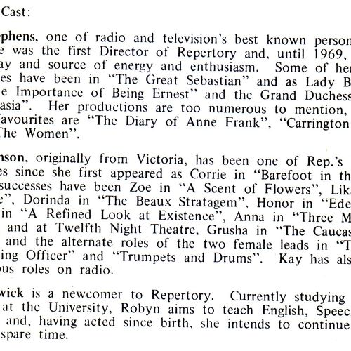 Cast program notes  for The Anniversary, 1973.