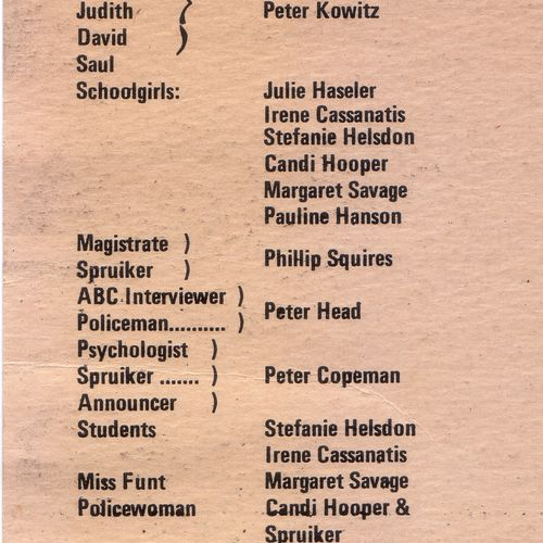 The Chapel Perilous cast list.