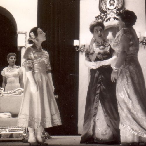 L to R: Joan Tanner, Beverley Bates, Betty Ross & Babette Stephens in The Sleeping Prince, 1956.