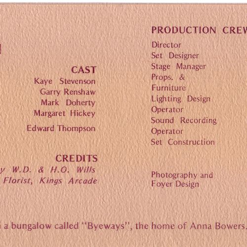 Three Months Gone program list of cast and crew, 1973.